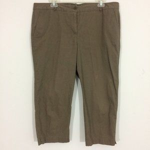 Talbots Womens Plus Size 16 Olive Cropped Pants